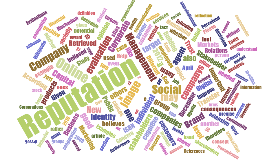 Reputation word cloud